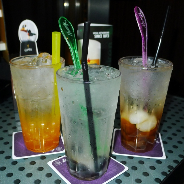 The drinks! lychee gui ling gao, longan aloe vera & passionfruit puree drink.